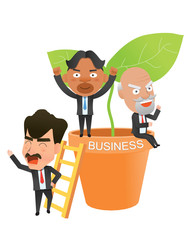 Business corporation success concept flat character