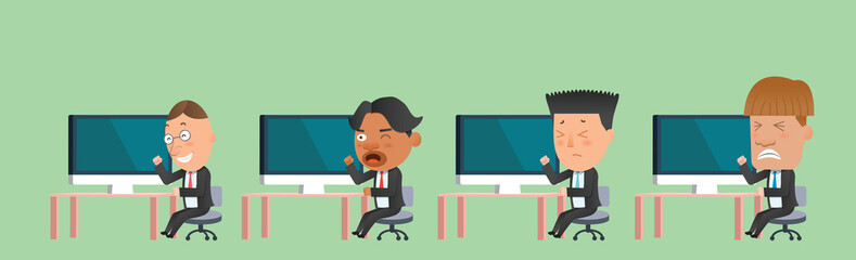 Business corporation team computer concept flat character