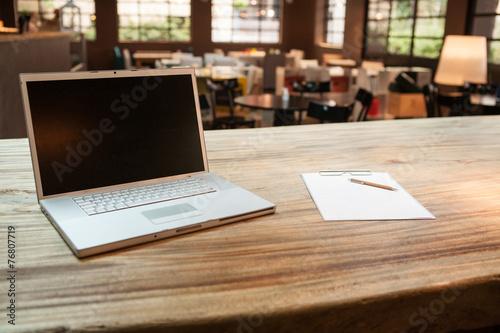 Fotobehang Buffet, Bar Laptop at the coffee shop