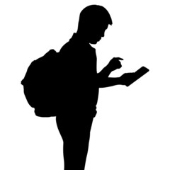 Silhouette man with backpack using dgital tablet computer, vecto