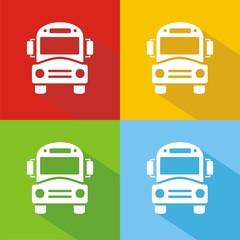 Iconos bus escolar colores sombra