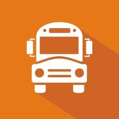 Icono bus escolar naranja sombra