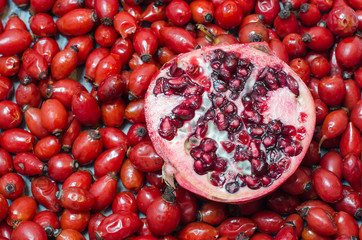 Rose-hip berries and half pomegranate
