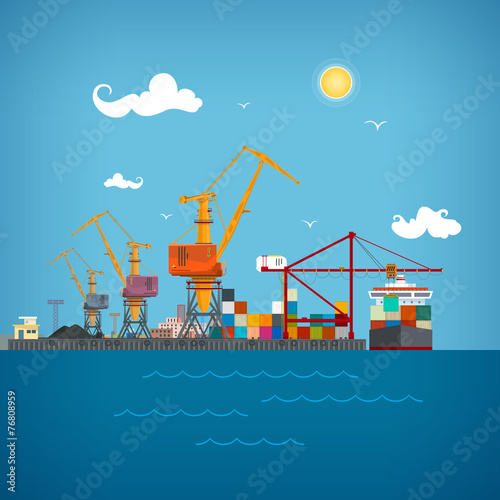 Cargo sea port , vector illustration - 76808959