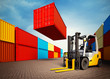 industrial port with containers and forklift