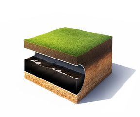 Cross section of ground with grass and steel pipe