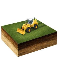 front end loader on grass