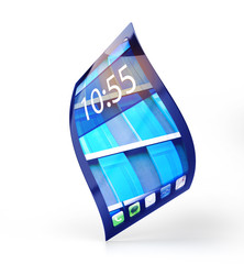mobile phone with flexible screen isolated on white