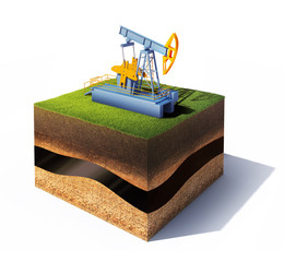 Section of ground with grass and oil pump jack isolated on white
