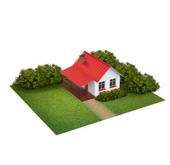 A piece of land with lawn with house and bushes