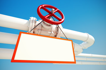 Industrial pipeline with gas or oil with empty sign on