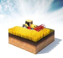 tractor harvester harvesting wheat