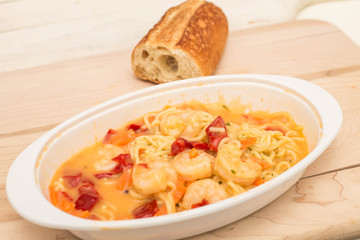 Shrimp in Angel Hair Pasta with Sauce and French Bread