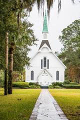 Small White Chapel Down Stone Path