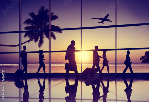 Back Lit Business People Traveling Airplane Airport Concept - 76809737