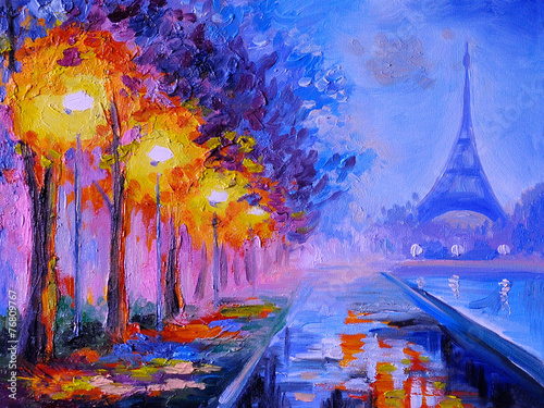 Foto op Plexiglas Artistiek mon. Oil painting of eiffel tower, france, art work