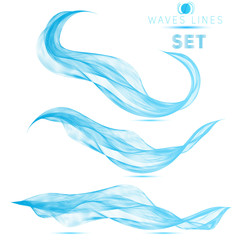 set blue blend abstract waves background elements for design