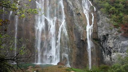 Plitvice Lakes Mountain Waterfall