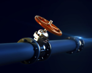 3d illustration of metal pipeline with valve and red handwheel