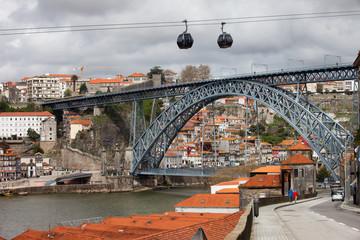 Dom Luis I Bridge in Porto and Cable Car in Gaia