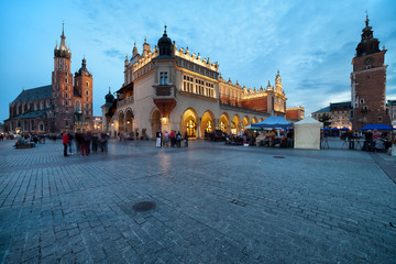 Main Square in the Old Town of Krakow in Poland at Dusk