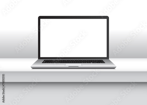 Laptop with blank screen on office desk. Vector Illustration. - 76810510