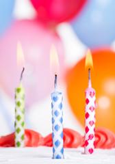 Closeup of Three Birthday Candles