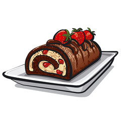 chocolate roll cake with strawberry