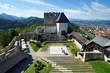 Celje medieval castle in Slovenia above the river  Savinja - 76810939