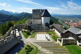 Celje medieval castle in Slovenia above the river Savinja