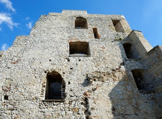 Wall of the ruin of medieval Celje castle in Slovenia