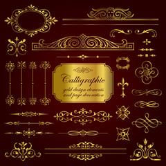 Golden calligraphic design elements and page decoration - set 2