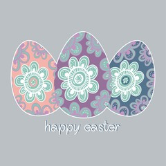 Easter painted eggs decorative design greeting card