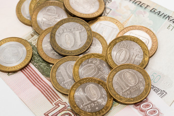 Russian rubles in coins and banknotes