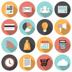 Flat round business and marketing web icons set