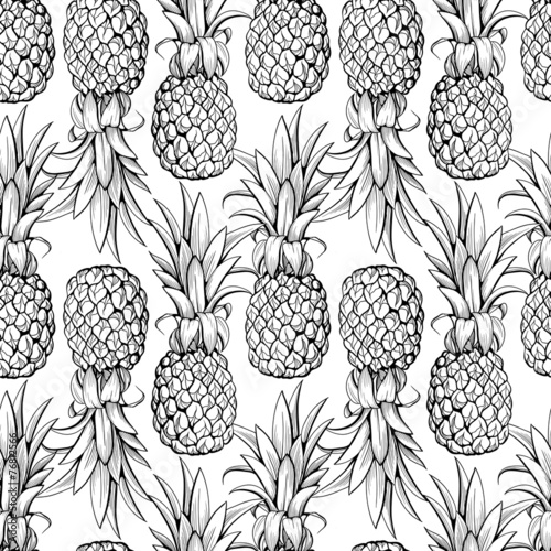 Pineapples seamless pattern - 76812566
