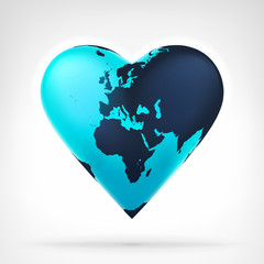 Europe earth globe shaped as heart at modern graphic design
