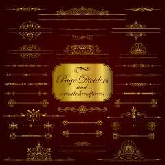 Page Dividers and ornate headpieces in gold - set 1