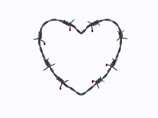 Barbed wire in heart shape