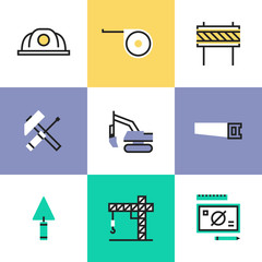 Construction industry pictogram icons set