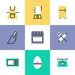 Kitchenware pictogram icons set