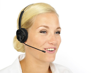 blonde with headset