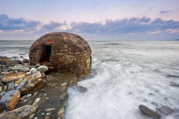 ruins of abandoned bunker on Azkorri beach