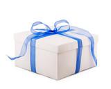 Fototapety white box packing paper blue bow ribbon