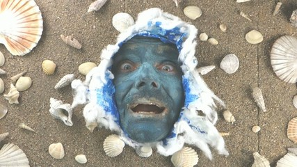 happy Blue sea man smiling,  Poseidon  king of the sea concept