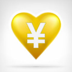 Yuan coin shaped as golden heart at modern graphic design