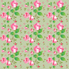 Vintage seamless pattern with beautiful roses