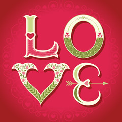 Valentines day background - love letters with hearts