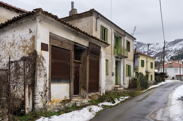 Street with old houses in Antartiko village, Florina, Greece