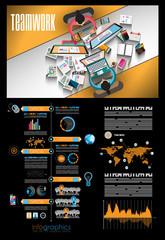 Infographic teamwork and brainstorming with Flat style